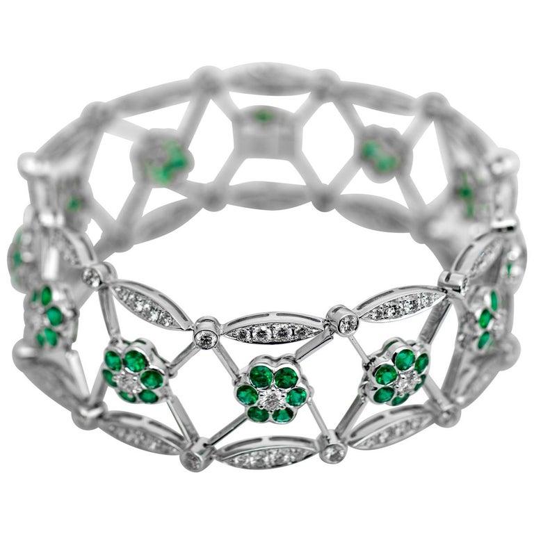 Open Work Diamond and Emerald Bracelet