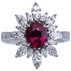 Lotus Certified 2.15 Carat Burma Pink Sapphire Flower Ring