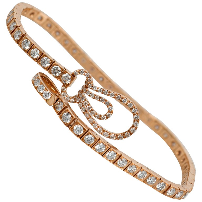 Straight Line Rose Gold Diamond Tennis Bracelet For Sale