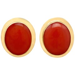 Vintage 4.50 Carat Coral and Gold Stud Earrings