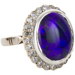 Australian Black Opal and 18 Karat Gold Diamond Cluster Ring