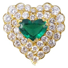 Emerald and Diamond Encrusted Heart Shaped 18 Carat Gold Ring