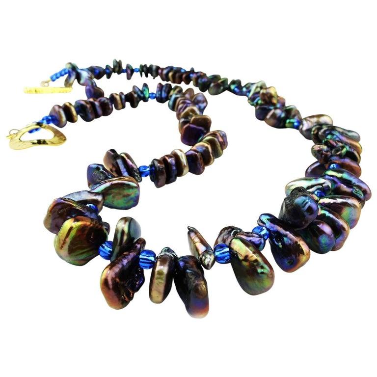 Iridescent, Triangular Bronze-Green Pearl Necklace