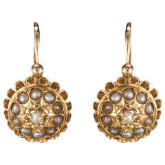 19th Century French 18 KaratsRose Gold Natural ¨Pearl Drop Earrings