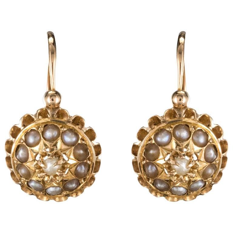 19th Century French 18 KaratsRose Gold Natural ¨Pearl Drop Earrings