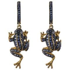 New 6 Carats Sapphire Frog Dangle Earrings