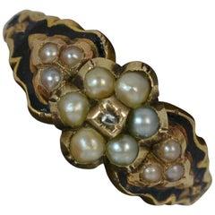 Georgian 15 Carat Gold Pearl Diamond Enamel Daisy Cluster Mourning Ring