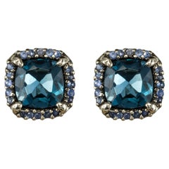 New Modern Topaz Sapphire Stud Earrings