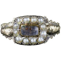 Antique Georgian Mourning Pearl Ring, circa 1800