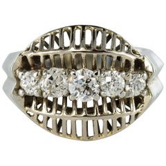 1970s 1 Carat Diamond White Gold Vintage Ring