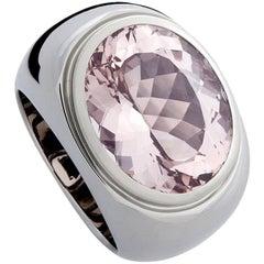 Certified 13.08 Carat Amethyst Precious Basic White Gold Ring