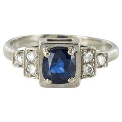 Modern Cushion Sapphire Diamond Art Deco Spirit Ring