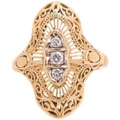 1940s Three-Stone Ring 0.10 Old Euro Diamonds and 14 Karat Yellow Gold Filigree