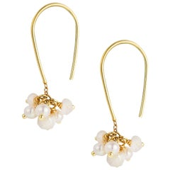 Sweet Pea White Pearl and Moonstone 18k Yellow Gold Cluster Hook Earrings