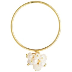 Sweet Pea White Pearl and Moonstone Cluster 18k Yellow Gold Ring