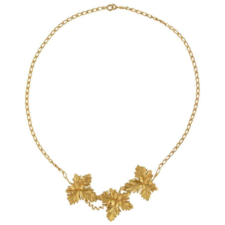 1960s Vines Leaves Drapery Vermeil Necklace