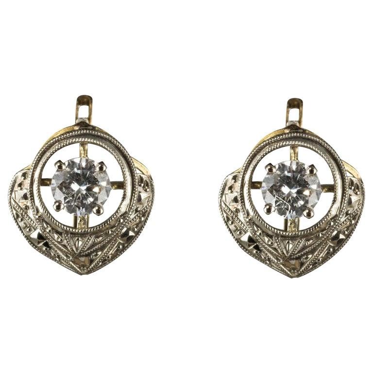 French 1930s Art Deco E Vvs Diamonds Stud Earrings For