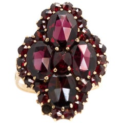1940s 5 Carat Total Weight Garnet, 14 Karat Yellow Gold Ring