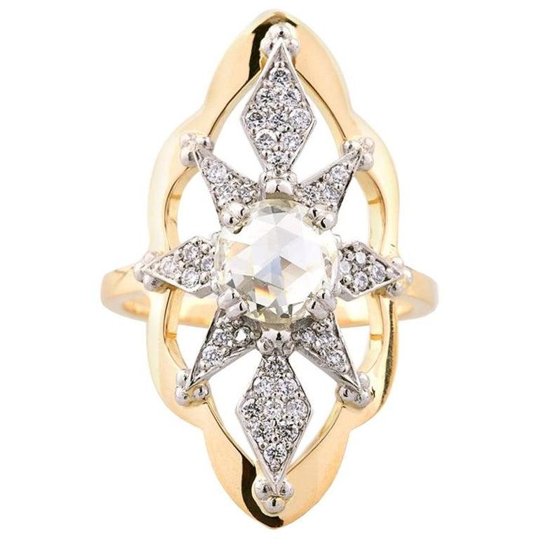Zoe and Morgan Sitara 18k Yellow Gold Rose Cut Diamond Engagement Ring