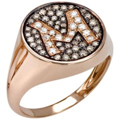 18 Kt Rose Gold Initial ring with White and Champagne Diamonds, Color G VS1