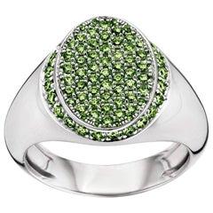 18 Karat White Gold Emerald Signet Ring