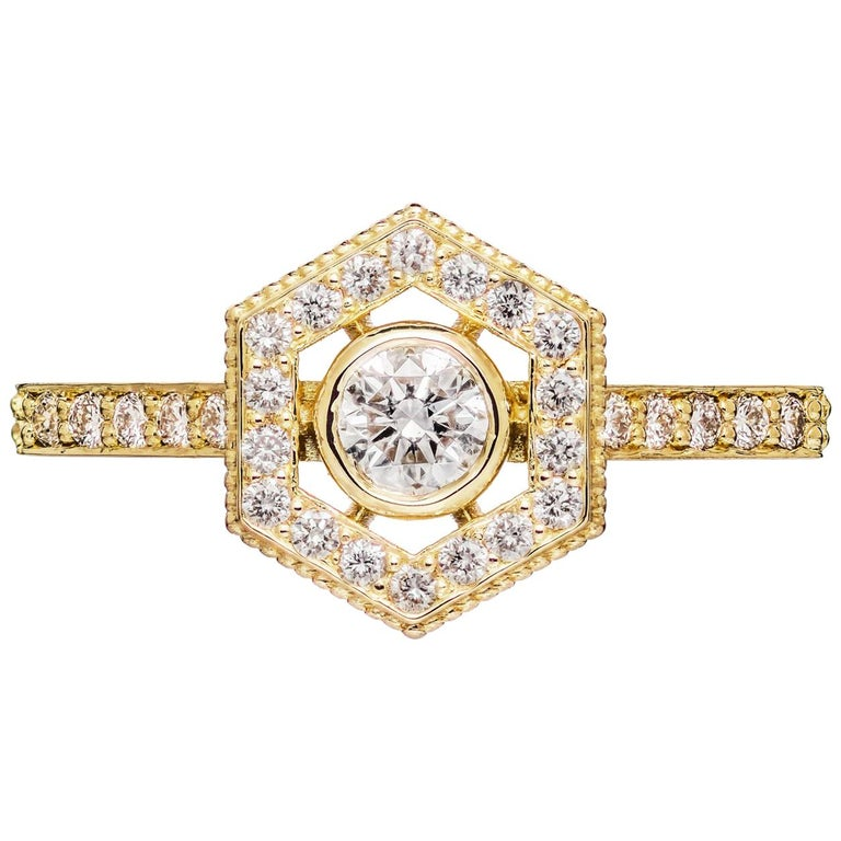 Zoe & Morgan Aretha 18k Yellow Gold Diamond Engagement Ring