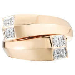 18 Karat Rose Gold Brillante Contrarie Ring with Diamonds, 0.22 Carat