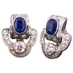 Art Deco Sapphire and Diamonds White Gold and Platinum Earrings
