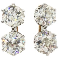 Old European Cut Double Diamond Earrings Platinum 14 Karat Approx. 4.06 Carat TW