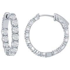 3.12 Ct. Diamond Hoops Earrings