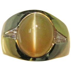 Chrysoberyl Cat's Eye Diamond Gold Ring