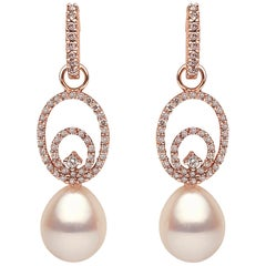 Yoko London Pearl and Cognac Diamond Hoop Earrings Set in 18 Karat Rose Gold