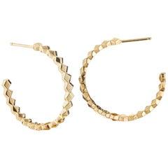 18 Karat Yellow Gold Brillante Hoop Earrings, Medium