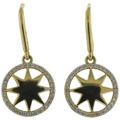 Tiffany & Co. Paloma Picasso Gold Diamond Star Drop Earrings