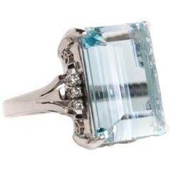 17.21 Carat Aquamarine and Diamond Cathedral Platinum Ring