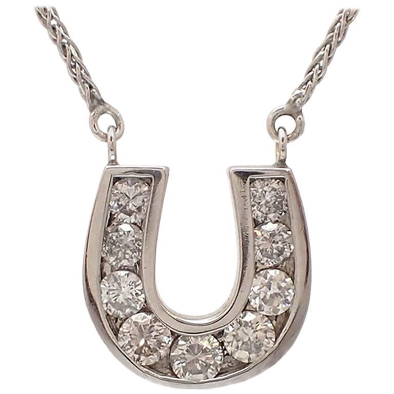 White gold diamond horseshoe pendant for sale at 1stdibs white gold diamond horseshoe pendant for sale aloadofball Choice Image