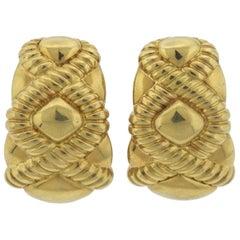 1980s Gold Half Hoop Large Earrings