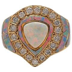 David R Freeland Opal and Diamond Ring in 18 Karat Yellow Gold