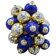 18 Karat Gold and Lapis Bubble Ring