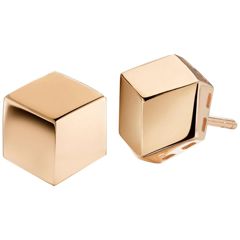 18 Karat Rose Gold Brillante Stud Earrings, Grande