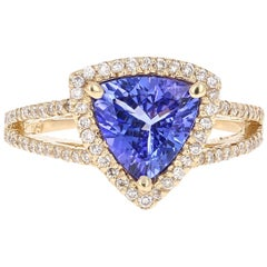 1.93 Carat Tanzanite Diamond Cocktail Yellow Gold Ring