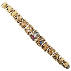 Victorian Centennial Ruby Diamond and Sapphire Bracelet, circa 1876