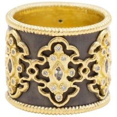 Armenta Old World Scroll Band Ring, Diamonds and White Sapphires, Style 01950