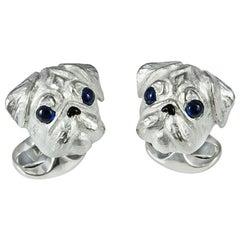 Deakin & Francis Sapphire Sterling Silver Pug Head Dog Cufflinks