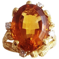 1960s Mandarin Citrine and Diamond 18 Karat Bark Finished Ring