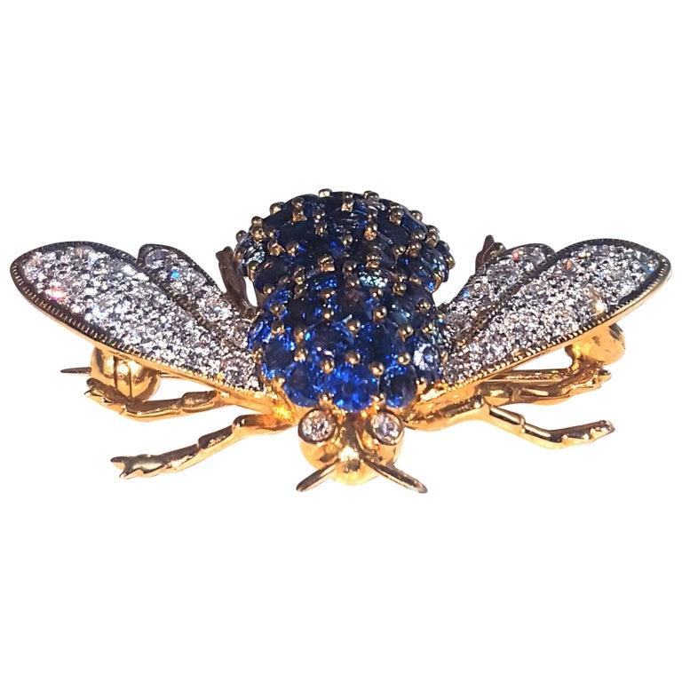 18 Karat Diamond and Sapphire Articulated Bee Brooch