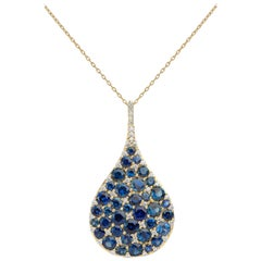 18K YG 9.30 Ct Blue Sapphire, .60 Ct Diamond Pendant Teardrop Rain Drop Necklace