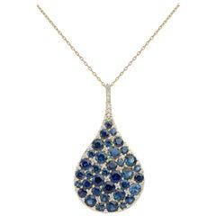 Carelle 18K YG 9.30 Ct Blue Sapphire, .60 Ct Diamond Pendant Teardrop Necklace