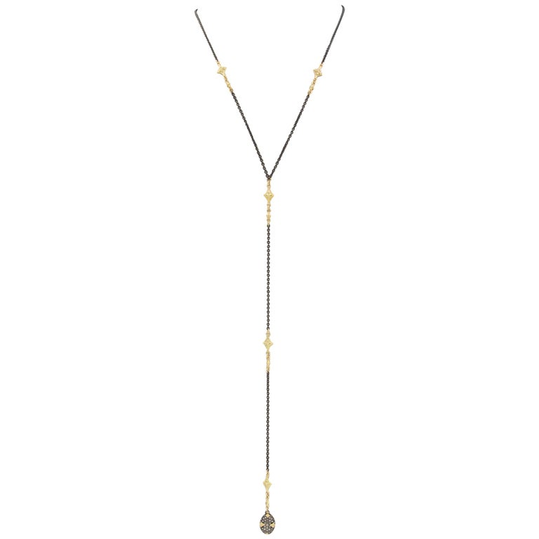 Armenta Old World Bead Lariat Necklace - 18k Yellow Gold & Silver - Style 11662 For Sale