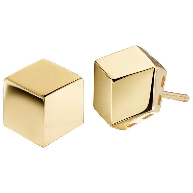 18 Karat Yellow Gold Brillante Stud Earrings